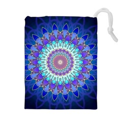 Power Flower Mandala   Blue Cyan Violet Drawstring Pouches (extra Large) by EDDArt