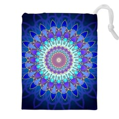 Power Flower Mandala   Blue Cyan Violet Drawstring Pouches (xxl) by EDDArt