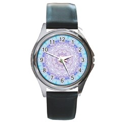 India Mehndi Style Mandala   Cyan Lilac Round Metal Watch by EDDArt