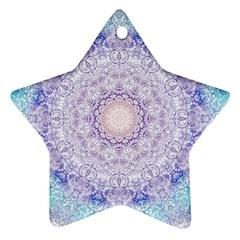 India Mehndi Style Mandala   Cyan Lilac Ornament (star) by EDDArt