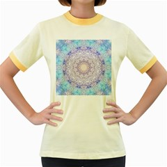India Mehndi Style Mandala   Cyan Lilac Women s Fitted Ringer T Shirts by EDDArt