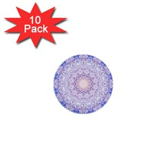 India Mehndi Style Mandala   Cyan Lilac 1  Mini Buttons (10 Pack)  by EDDArt