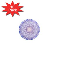 India Mehndi Style Mandala   Cyan Lilac 1  Mini Magnet (10 Pack)  by EDDArt