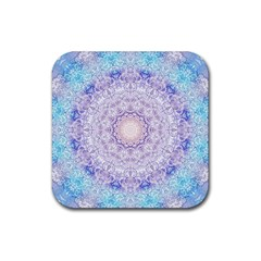 India Mehndi Style Mandala   Cyan Lilac Rubber Coaster (square)  by EDDArt
