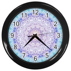 India Mehndi Style Mandala   Cyan Lilac Wall Clocks (black) by EDDArt