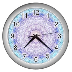 India Mehndi Style Mandala   Cyan Lilac Wall Clocks (silver)  by EDDArt
