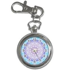 India Mehndi Style Mandala   Cyan Lilac Key Chain Watches by EDDArt