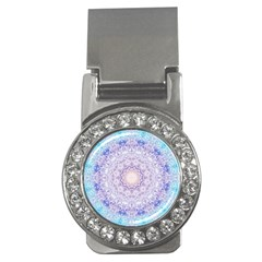 India Mehndi Style Mandala   Cyan Lilac Money Clips (cz)  by EDDArt