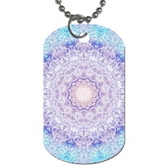 India Mehndi Style Mandala   Cyan Lilac Dog Tag (two Sides) by EDDArt