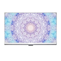 India Mehndi Style Mandala   Cyan Lilac Business Card Holders by EDDArt