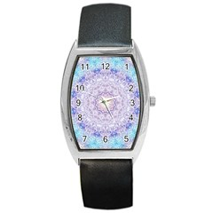 India Mehndi Style Mandala   Cyan Lilac Barrel Style Metal Watch by EDDArt