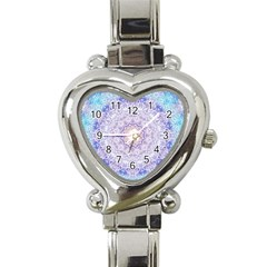 India Mehndi Style Mandala   Cyan Lilac Heart Italian Charm Watch by EDDArt