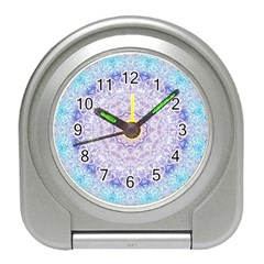 India Mehndi Style Mandala   Cyan Lilac Travel Alarm Clocks by EDDArt