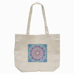 India Mehndi Style Mandala   Cyan Lilac Tote Bag (cream) by EDDArt