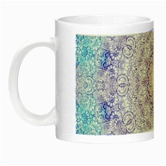 India Mehndi Style Mandala   Cyan Lilac Night Luminous Mugs by EDDArt