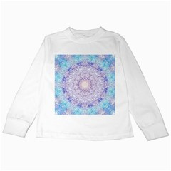 India Mehndi Style Mandala   Cyan Lilac Kids Long Sleeve T Shirts by EDDArt