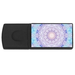 India Mehndi Style Mandala   Cyan Lilac Usb Flash Drive Rectangular (4 Gb) by EDDArt
