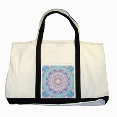 India Mehndi Style Mandala   Cyan Lilac Two Tone Tote Bag by EDDArt
