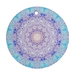 India Mehndi Style Mandala   Cyan Lilac Round Ornament (two Sides) by EDDArt