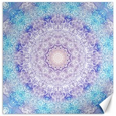 India Mehndi Style Mandala   Cyan Lilac Canvas 12  X 12   by EDDArt