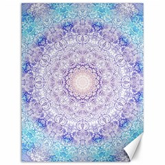 India Mehndi Style Mandala   Cyan Lilac Canvas 12  X 16   by EDDArt