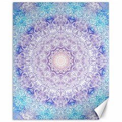 India Mehndi Style Mandala   Cyan Lilac Canvas 16  X 20   by EDDArt