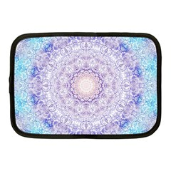 India Mehndi Style Mandala   Cyan Lilac Netbook Case (medium)  by EDDArt