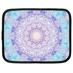 India Mehndi Style Mandala   Cyan Lilac Netbook Case (large) by EDDArt