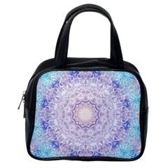 India Mehndi Style Mandala   Cyan Lilac Classic Handbags (one Side) by EDDArt