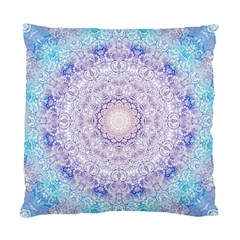 India Mehndi Style Mandala   Cyan Lilac Standard Cushion Case (one Side) by EDDArt