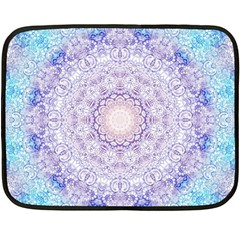 India Mehndi Style Mandala   Cyan Lilac Fleece Blanket (mini) by EDDArt