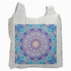 India Mehndi Style Mandala   Cyan Lilac Recycle Bag (one Side) by EDDArt