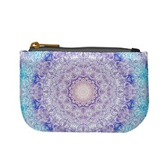 India Mehndi Style Mandala   Cyan Lilac Mini Coin Purses by EDDArt