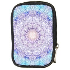 India Mehndi Style Mandala   Cyan Lilac Compact Camera Cases by EDDArt