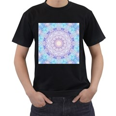 India Mehndi Style Mandala   Cyan Lilac Men s T Shirt (black) by EDDArt