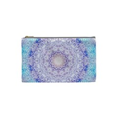 India Mehndi Style Mandala   Cyan Lilac Cosmetic Bag (small)  by EDDArt