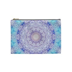 India Mehndi Style Mandala   Cyan Lilac Cosmetic Bag (medium)  by EDDArt