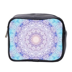 India Mehndi Style Mandala   Cyan Lilac Mini Toiletries Bag 2 Side by EDDArt