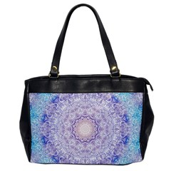 India Mehndi Style Mandala   Cyan Lilac Office Handbags by EDDArt