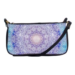 India Mehndi Style Mandala   Cyan Lilac Shoulder Clutch Bags by EDDArt