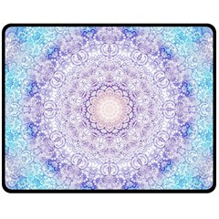 India Mehndi Style Mandala   Cyan Lilac Fleece Blanket (medium)  by EDDArt