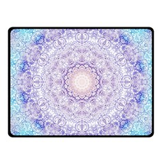 India Mehndi Style Mandala   Cyan Lilac Fleece Blanket (small) by EDDArt