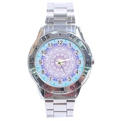 India Mehndi Style Mandala   Cyan Lilac Stainless Steel Analogue Watch by EDDArt