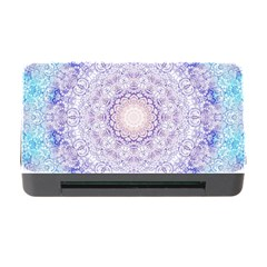 India Mehndi Style Mandala   Cyan Lilac Memory Card Reader With Cf by EDDArt