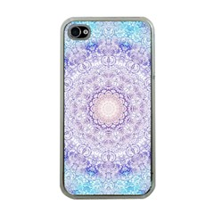 India Mehndi Style Mandala   Cyan Lilac Apple Iphone 4 Case (clear) by EDDArt