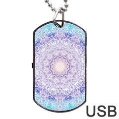 India Mehndi Style Mandala   Cyan Lilac Dog Tag Usb Flash (two Sides) by EDDArt