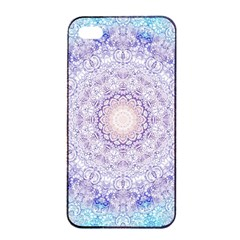 India Mehndi Style Mandala   Cyan Lilac Apple Iphone 4/4s Seamless Case (black) by EDDArt