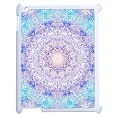 India Mehndi Style Mandala   Cyan Lilac Apple Ipad 2 Case (white) by EDDArt