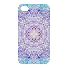 India Mehndi Style Mandala   Cyan Lilac Apple Iphone 4/4s Hardshell Case by EDDArt