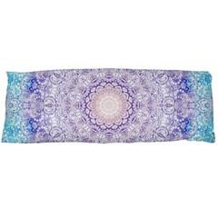 India Mehndi Style Mandala   Cyan Lilac Body Pillow Case (dakimakura) by EDDArt